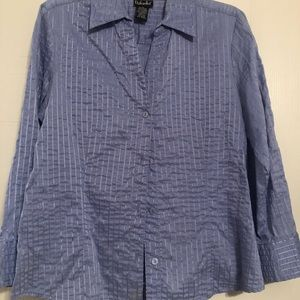 Periwinkle button up blouse.